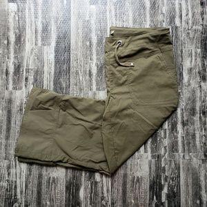 Prana army green capris, size medium